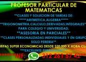 Profesor particular de matematicas. tarifas desde $20.000 x hora