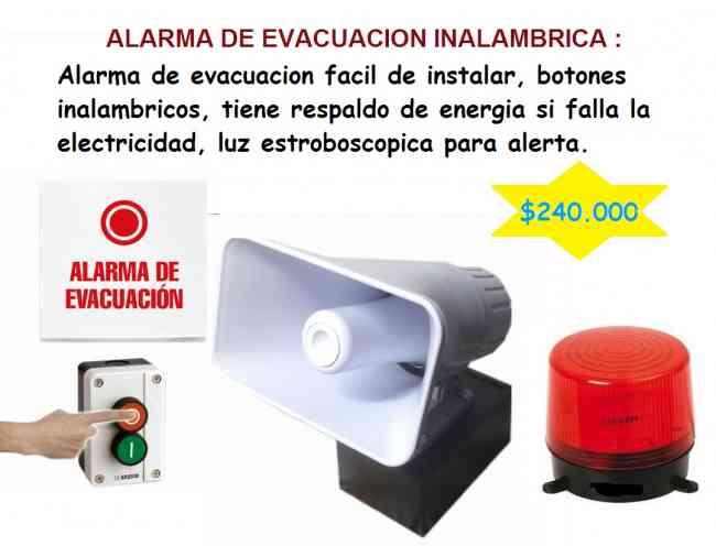 ALARMAS DE EVACUACION ALAMBRICA INSTALADA $199.000 cel 3204476645
