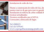 Técnicos instaladores de redes de gas. tel. 6599423.