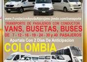 Alquiler 500 vans, buseta, bus en bogota, cali, medellin, barranquilla, cartagena, cucuta, ibague