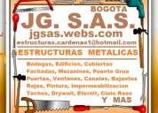 Estructuras metalicas, bodegas, edificios, cubiertas, fachadas, mezanines, puente grua, puertas