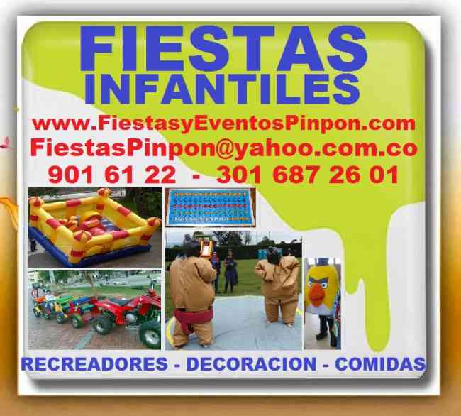 FIESTAS INFANTILES PINPON, RECREADORES, DECORACION, COMIDA.  Payasos, Titeres, Magos, Chiquitecas,