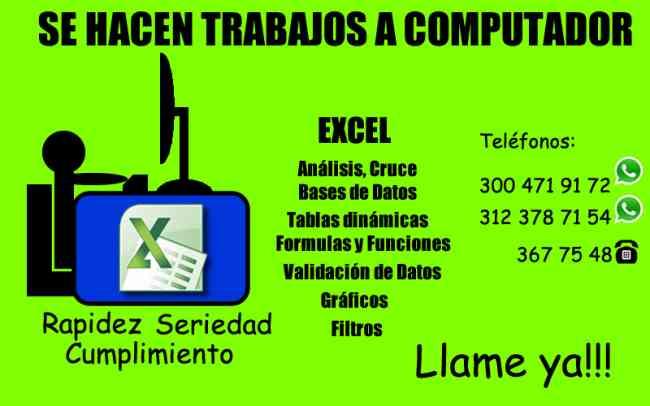 Solucion Resolver Talleres Trabajos De Excel todo colombia