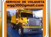 Servicio de volquetas. retiro de escombros, basura. suministro materiales.