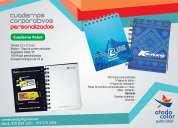 Cuadernos argollados tapa dura personalizados, libretas, blocks y talibooks.