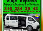 Alquiler vans, transporte desde bogota, chia, zipaquira, cajica, tenjo, tabio, sopo, gachancipa