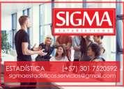 Trabajos, clases, asesoría, análisis, capacitaciones. estadísticos profesionales. sigmaestadísti