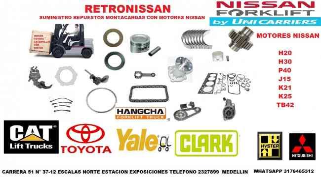 VENTA REPUESTOS MONTACARGAS CON MOTOR NISSAN K21-K25 CATERPILLAR,MITSUBISHI,TCM,PLATINO,HYSTER