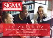 Estadística. sigmaestadísticos. clases, asesorías, análisis, preparación de exámenes y trabajo