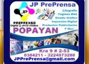 Jp preprensa, litografia, diseño grafico, impresión digital, paginas web, productos publicitarios