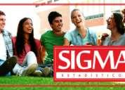 Sigma estadísticos. estadística. probabilidad.  somos estadísticos profesionales.