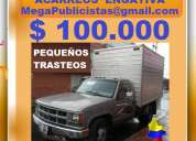 100 mil, acarreos engativa, pequeños trasteos, furgon, camion, 2 toneladas, 3 o 4 metros cubicos.