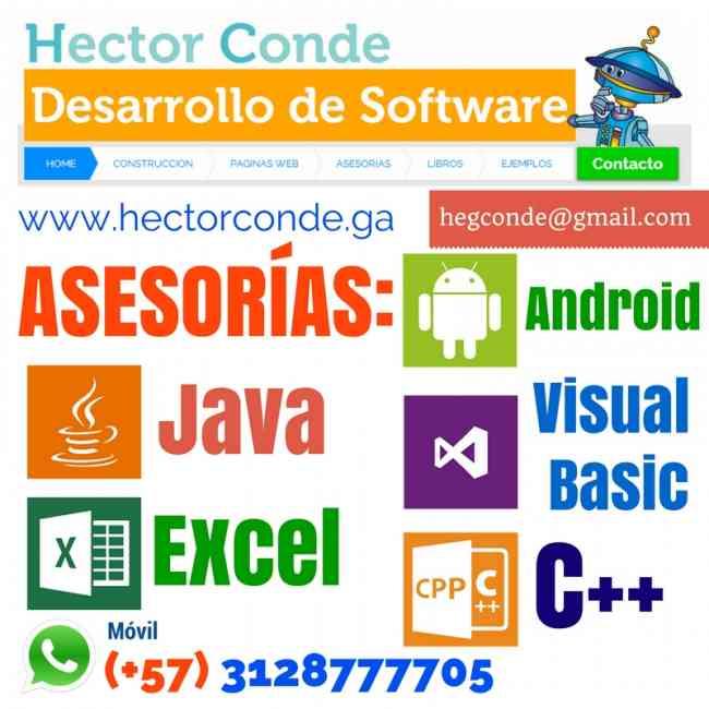 Asesorías sobre: Excel, Algoritmos, POO, C++, Java, Android Apps, Visual Basic, Macros en Excel VBA