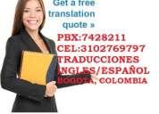 Traducción inglés español traducción de documentos y archivos de todo tipo bogotá pbx 7428211