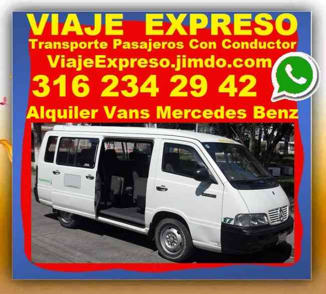 Transporte Pasajeros Con Conductor, Alquiler Vans,  DESDE Bogota, Chia, Zipaquira, Cajica, Andres