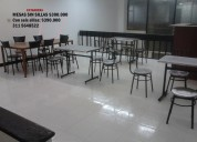 Mesas con 2 sillas acero inox $89.000, con 4 sillas 179.000