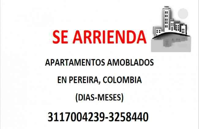 Se renta apartamento amoblado por dias con todo incluido PEREIRA