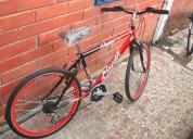 vendo bicicleta tipo todo terreno color roja . casi nueva - perfecto estado.
