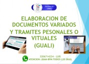 Elaboracion de documentos y asesoria para tramites