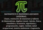 Resolución de exámenes y trabajos de matemáticas,