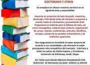 Asistencia y asesoria tesis de grado posgrado y proyectos