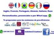 Ingles frances aleman portugues italiano ruso personalizado