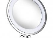 Espejo de maquillaje x10 de aumento con luz led