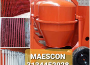 Mezcladoras de cemento, cerchas, parales metalicos